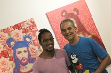 Photo of me with street artist OZI, a legend at his first ever show in a gallery space. (A7MA)